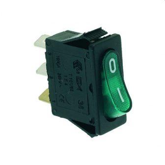 Zöld egypólusú kapcsoló 16A 250V
