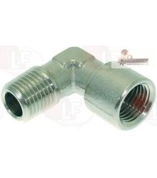 "NICHEL PLATED L-FITTING ? 1/4""M-1/4""F"
