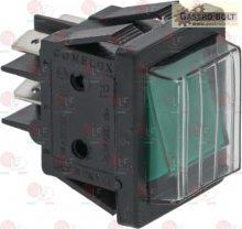 nyomógomb 2 pólusú zöld 250V 16A