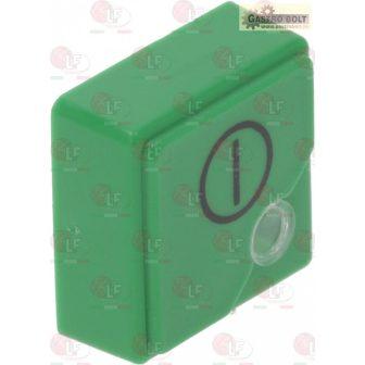"""nyomógomb SQUARE zöld 23x23mm""""ki/be"""""""
