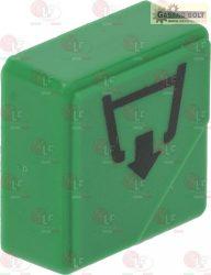 """nyomógomb zöld 23x23 mm """"leeresztő"""