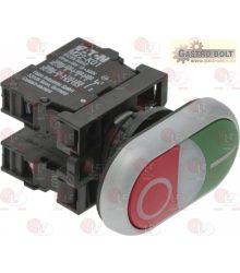 Nyomógomb panel O-I zöld-piros 15A 500V